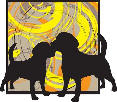 2 Dogs, vector illustration Vector