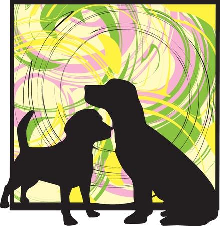 doberman: 2 Dogs, vector illustration