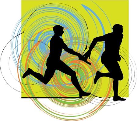 relay baton: Running men