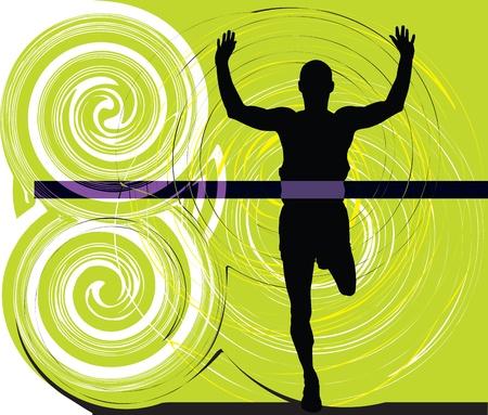 overcoming: Athlete. Vector illustration