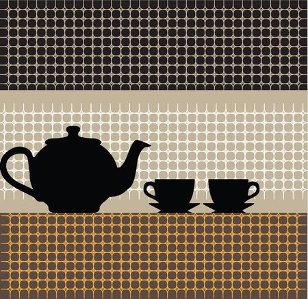 sweet home: Teapot and cups illustration