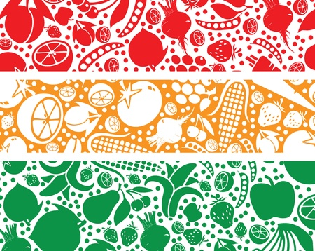 Fruits and Vegetables pattern illustration Vector