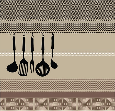 old items: Rack of kitchen utensils on ancient background