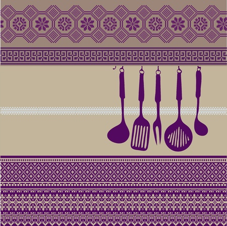 american cuisine: Rack of kitchen utensils on ancient background