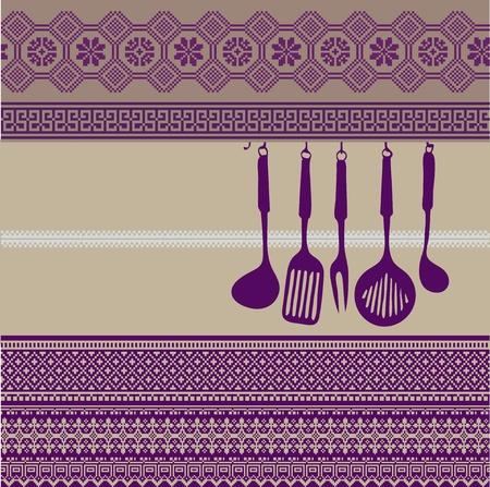 american cuisine: Rack of kitchen utensils on ancient background