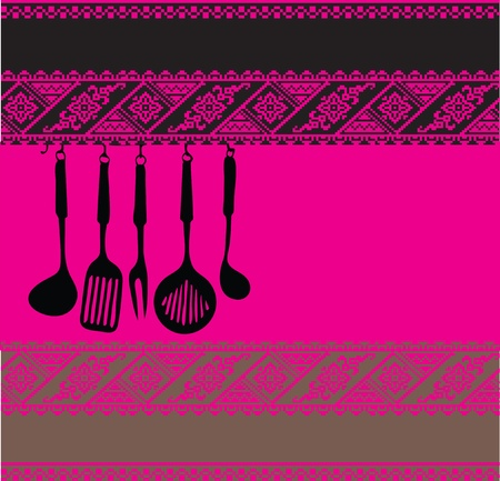 drainer: Rack of kitchen utensils on ancient background