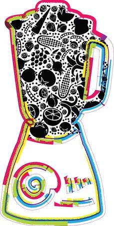 Ilustración del mezclador con las frutas y verduras Ilustración de vector