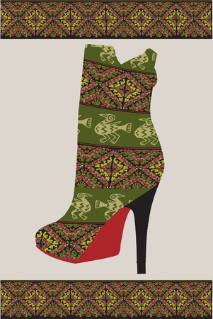 Ethnic Woman Shoe, vector illustration Vector