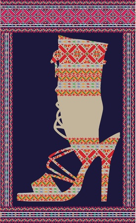 Ethnic Woman Shoe, vector illustration Vector
