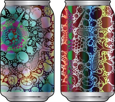 cola canette: Emballages en aluminium pour les boissons avec un design cool Illustration