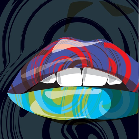 lip gloss: Beautiful woman lips illustration