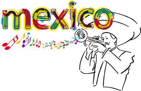 traje mexicano: Mariachi mexicano. Ilustración vectorial