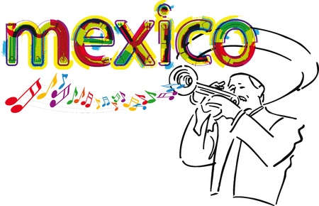 mexican folklore: Mexican Mariachi. Vector illustration