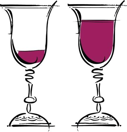shots alcohol: Glasses of wine illustration