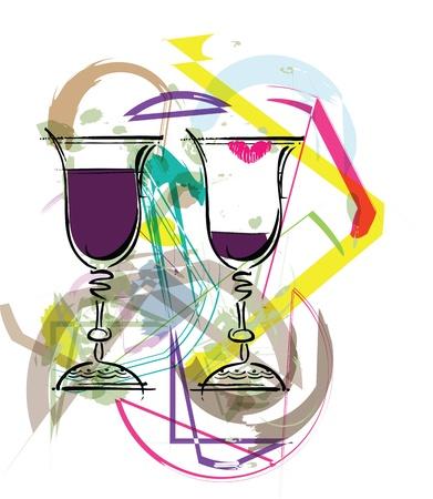 Glasses of wine illustration Vector