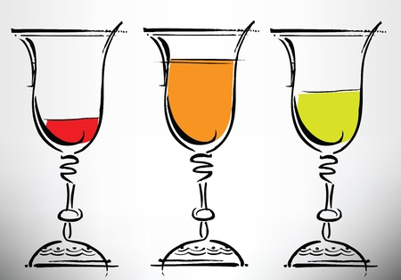 red wine pouring: Glasses of wine illustration