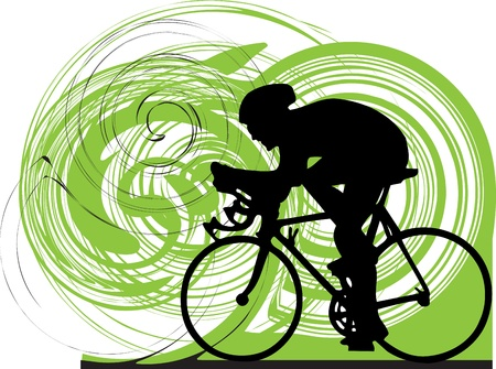 bicicleta: Mujer en bicicleta Vectores