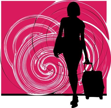 toerist met bagage Vector Illustratie