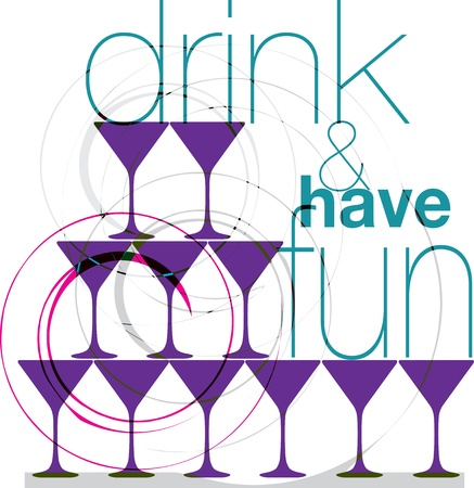 red wine pouring: Drink & have fun. Vector illustration Illustration
