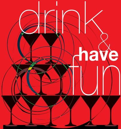 Drink & have fun. Vector illustration Vector