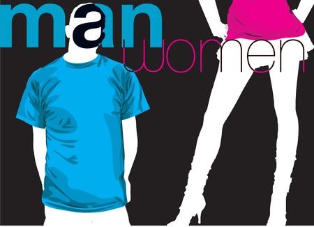 clothed: Uomo & donna. Illustrazione vettoriale