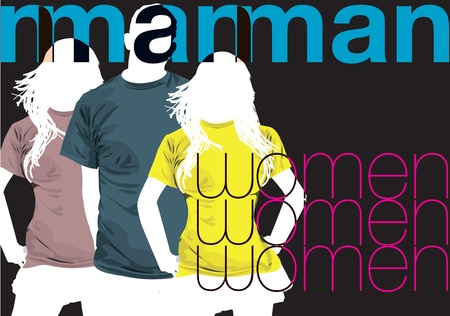 clothed: Man & Women. Vector illustration