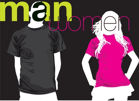 manly: Man & Woman. Vector illustration