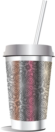 plastic straw: paper glass. Vector illustration Illustration