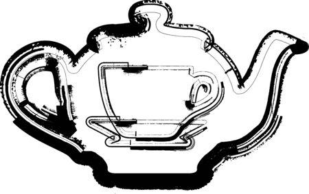 chinese teapot: Teapot & Cup illustration Illustration