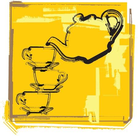 chinese tea cup: tetera y tazas. Ilustraci�n vectorial
