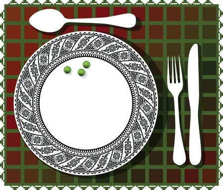 3 green beans on beautiful plate illustration Vector
