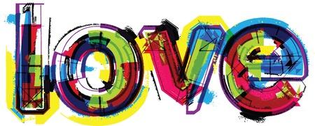落書き: 芸術的な単語の愛  イラスト・ベクター素材