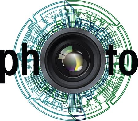 Profesional de la lente fotográfica. Ilustración vectorial editable
