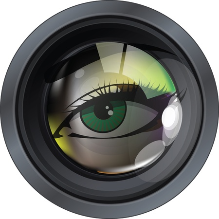 lens: Professional photo lens. Editable vector illustration