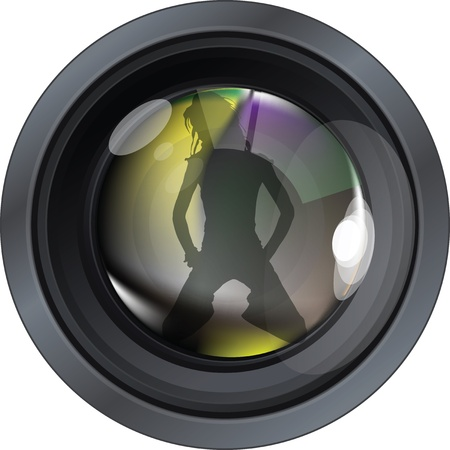 light reflex: Professional photo lens. Editable vector illustration