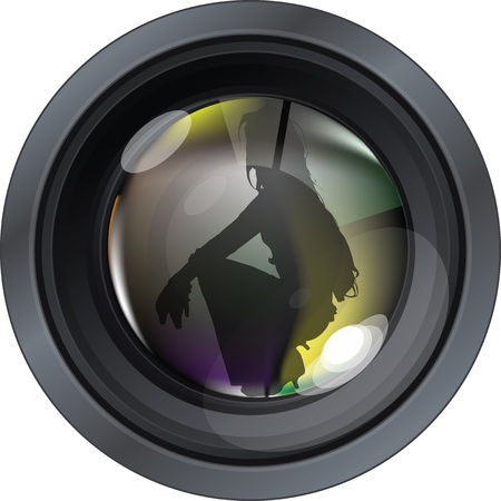 Professional photo lens. Editable vector illustration Vector