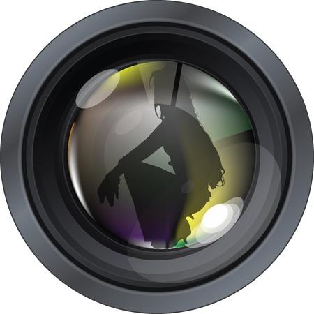 Professional photo lens. Editable vector illustration Vector