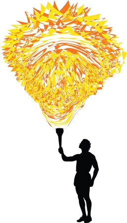 Man holding a torch with abstract flame Vector