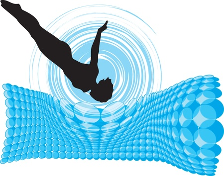young boy in pool: Jump. Vector illustration