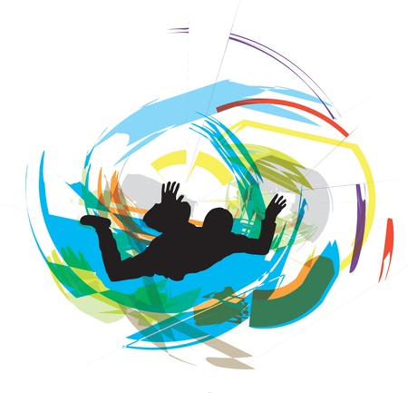 skydiving illustration Vector