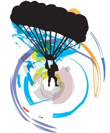 paragliding illustration Vector