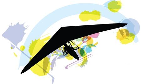adrenaline: hang glider. vectorillustratie