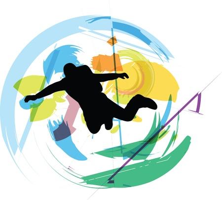skydiving illustration Stock Vector - 10916107