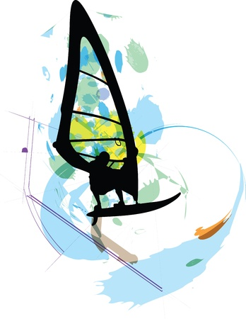 Wind surf illustration Vector
