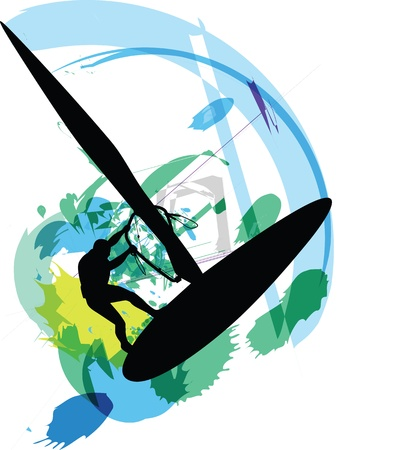 Wind surf illustration Stock Vector - 10915065