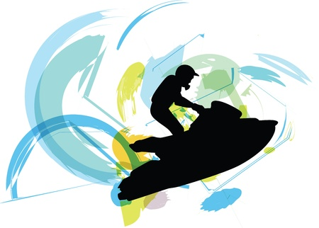 moto acuatica: Jetski ilustrador Vectores