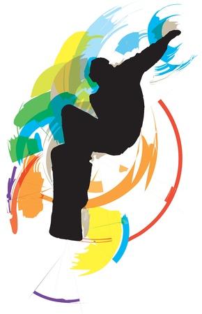boarder: wake boarder in action Illustration