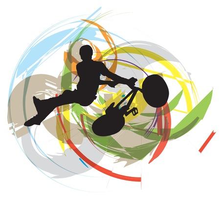 freeride: Abstract sketch of biker Illustration