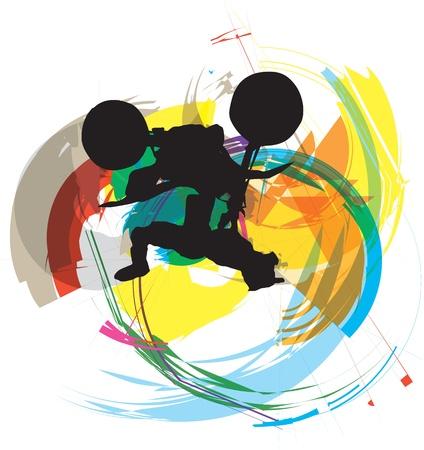 freeride: Dibujo abstracto de ciclista