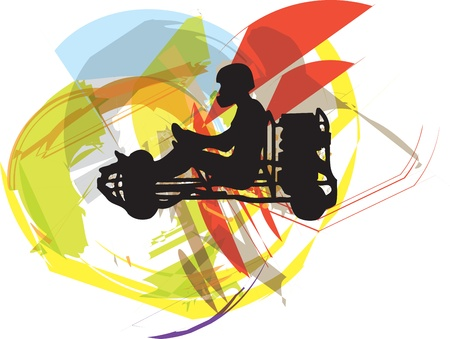 kart: Kart race. Vector illustration